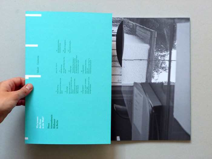 exhibition catalogue layout with spot colors
