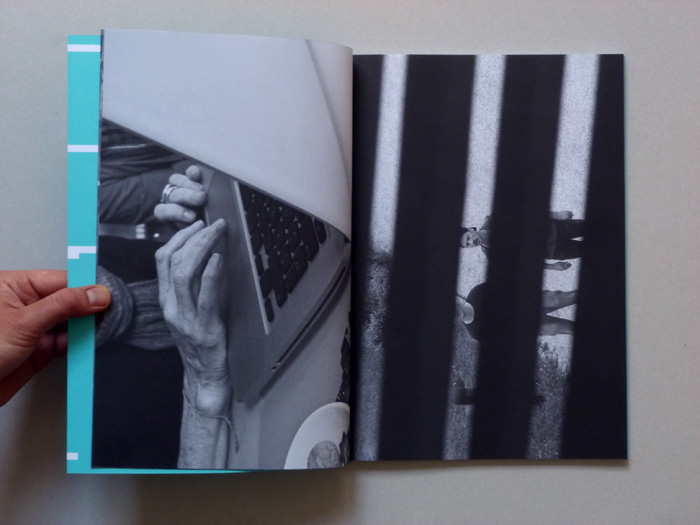 exhibition catalogue layout with black and white images