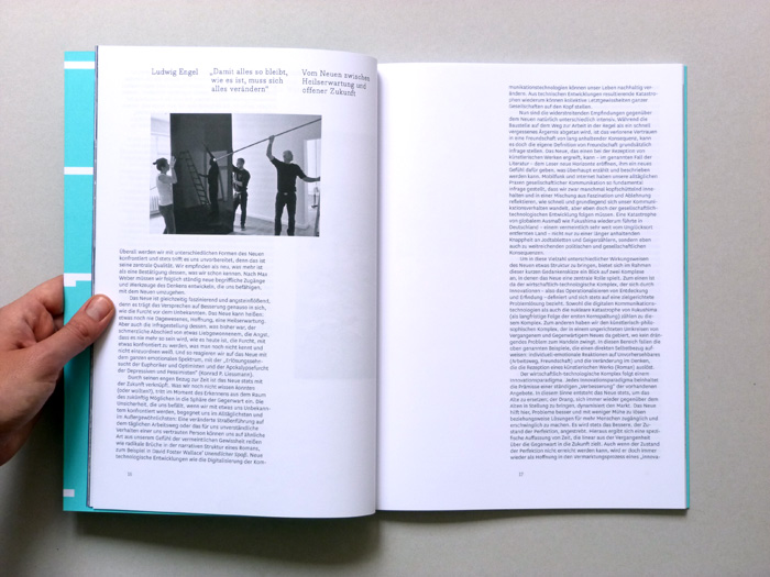 exhibition catalogue layout with text and images