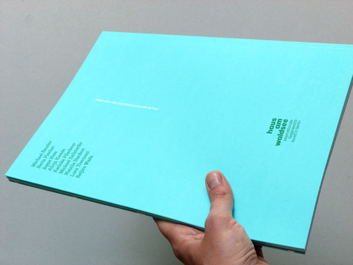 exhibition catalogue back cover with spot color