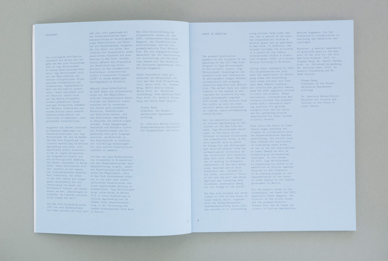 double-page spread introduction of artist publication
