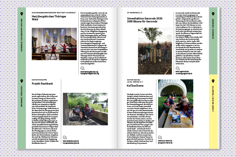 double-page spread layout of a brochure
