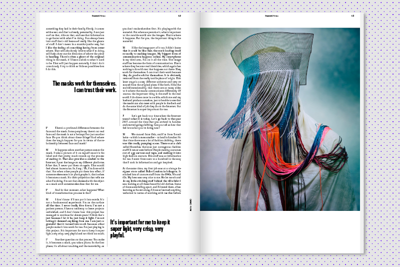 magazine layout of follow-up spread with quotes and image